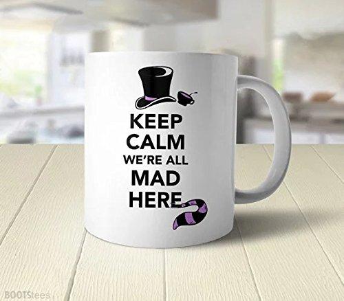 Alice nel paese delle meraviglie di Natale cbuyncu Quote We' re All Mad Here in ceramica latte tazza 11oz Tazza calda tazza da tè tazza da viaggio personalizzato regalo per uomo e donna, per lui, lei, papà, figlio, figlia, Mamma, Amici, forniture per ufficio