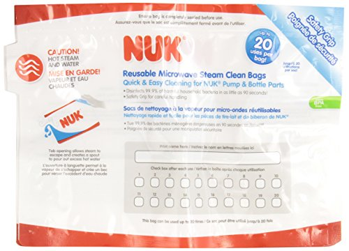 NUK Microwave Reusable Steam Clean Bags, 6 Count - 1