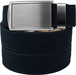 SlideBelts Men's Canvas Belt without Holes - Silver Buckle / Navy Canvas (Trim-to-fit: Up to 48
