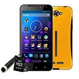 DJC Touchtalk Android 4.2 Smartphone Complete Bundle Yellow 16GB MicroSD (HD IPS touchscreen, 5MP Dual Camera, Dual-SIM technology, Quad Core 1.2GHz CPU Processor, 854*480 Resolution, 196 pixels per inch, 3G/WiFi, 4GB Storage, Expandable Storage, 1GB RAM, Bluetooth, GPS) - Touchtalk bundled withCase, MicroSD Card 16GB, Stylus - Red