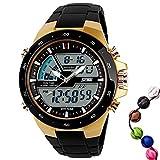 TTLIFE 腕時計 メンズ アウトドアスポーツウォッチ マルチファンクション アナログデジタル LEDクォーツ時計 デュアルタイマー 50M 防水 カレンダー 腕時計 目覚まし時計 ゴールド