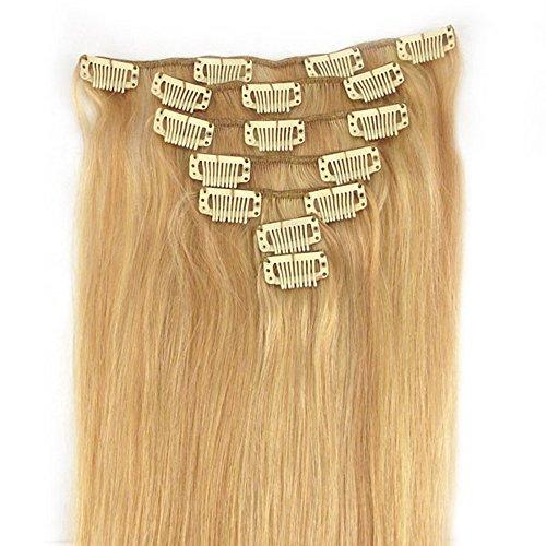 RemyHair Remy Echthaar Haarverlaengerung Clip-In-Extensions 38CM 16clips 70g#27613 mischen