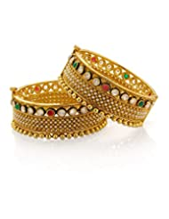 Voylla Gold Plated Kada Studded With Multi Coloured Stones