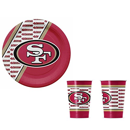 A 40 Piece NFL Gift Set 20 Disposable Paper Plates and 20 Paper Cups - San Francisco 49ers