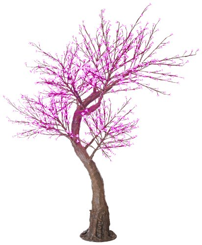 Arclite Nbl-200-2 Cherry Blossom Tree With Leaves, 7' Height, With Natural Brown Trunk, Pink Crystals And Pink Lights