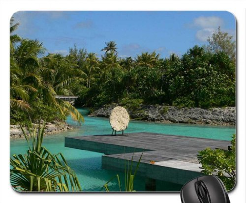 Four Seasons Bora Bora Yoga Meditation Zen Deck Mouse Pad, Mousepad (Beaches Mouse Pad)