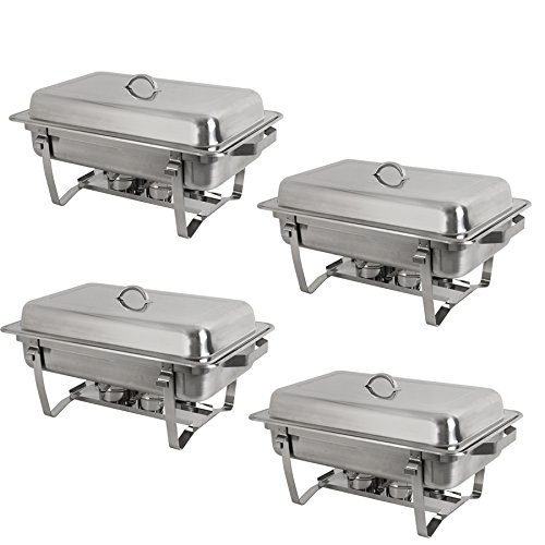 Super Deal Stainless Steel 4 Pack 8 Qt Chafer Dish w/Legs Complete, 4 Pack (pack of 4)