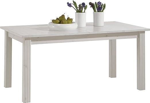 Table à manger en pin blanc - Dim : 204 x 90 x 74,5 cm -PEGANE-