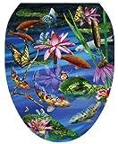 Toilet Tattoos TT-7740-O Koi Fish Decorative Applique for Toilet Lid, Elongated