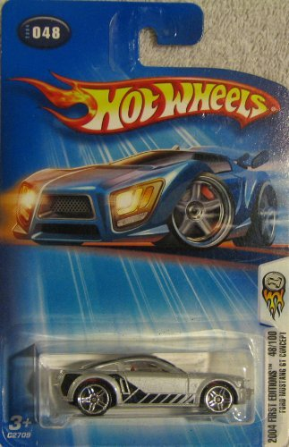 Hot Wheels 2004-048 First Editions Ford Mustang GT Concept 1:64 Scale SILVER - LARGE Headlight Card - 1
