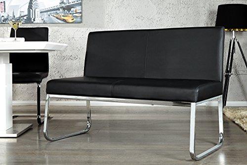 Elegante-Design-Sitzbank-HAMPTON-mit-Rckenlehne-schwarz-120-cm