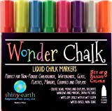 Wonder Chalk Neon Liquid Chalk Markers-Water Based, Wet Wipe to Erase-These 6mm Chisel Tip Premium Chalk Ink Pens in 8 Neon Colors are Ideal for Whiteboards, Plastic, Glass, Kids Crafts and Non-Porous Blackboards, Chalkboards-sold exclusively by shiny•earth