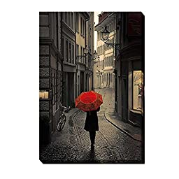Red Rain by Stefano Corso Premium Gallery-Wrapped Canvas Giclee Art (Ready-to-Hang)