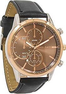 Daniel David Men | Rose GoldBlack Leather Watch|DD14001