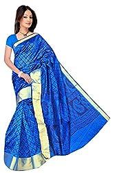 Monika Fashion Women's Cotton and Silk Saree - mf12_Blue
