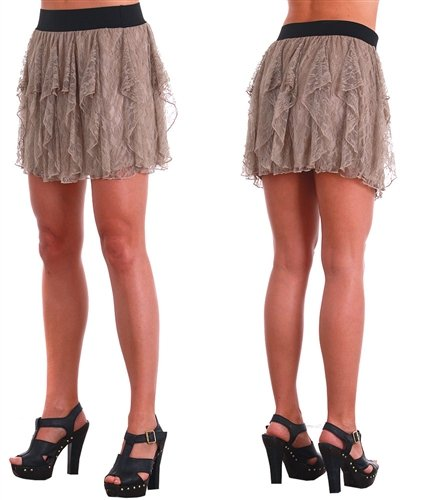 LACE RUFFLES MINI SKIRT WITH BANDED WAIST