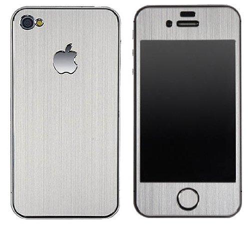 Apple Iphone 4/4S Aluminium Protective Sticker Skin Full Body Matte (Included Anti Finger Anti Glare Screen Protector Guard Film - 2 Pack) For Luxury Looks Diamond Cutting(Silver)