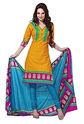 HIFI Ethnicwear Women's Dress Material(HIFI 3204_Yellow_Free Size)