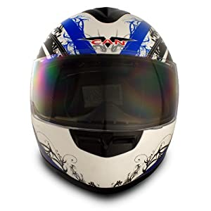 VCAN V136 Full-Face Helmet (Blue, Medium)