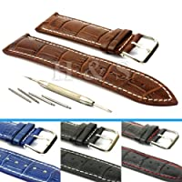 H&S? Mens PU Leather Watch Strap Band + Tool Spring Bar Pins 18mm 20mm 22mm 24mm