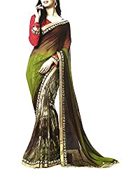Yug Bansal Women's Green Chiffon Saree