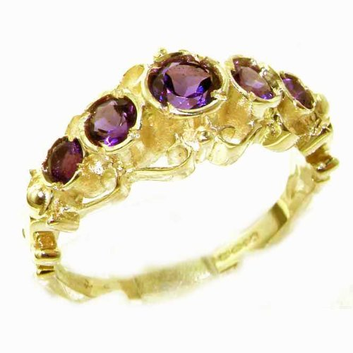 Solid Yellow Gold Genuine Natural Vibrant Amethyst Ring of English Georgian Design - Size 8.75 - Finger Sizes 5 to 12 Available