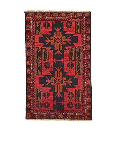 L'Eden del Tappeto Alfombra Beluchistan Rojo / Negro 142t x t88 cm