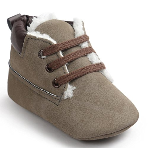 Kingko® Moda Culla pattini di bambino molli suola in cuoio pattini infantili ragazzo della neonata di inverno pattini caldi (12~18 mesi)