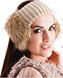 Ladies Knitted Winter Headband with Faux Fur Ears - On Oatmeal Band
