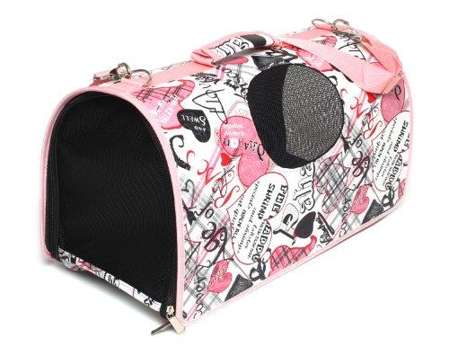 PetStyle キャリーケース ドーム型 キャリーバッグ 折りたたみ式 犬 猫 ペット カジュアル (ピンクハート, Mサイズ)