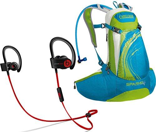 Beats By Dr. Dre Powerbeats 2.0 Wireless Black In-Ear Headphones Biking Bundle With Camelbak Women'S Spark Blue Jewel/Chartreuse 70 Oz. 10 Lr Hydration Pack