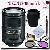 Nikon AF-S DX NIKKOR 18-300mm f/3.5-5.6G ED VR Lens + 3pc Filter Kit + Soft Lens Pouch 11pc Nikon Saver Bundle
