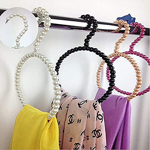 Kloset Kandy Plastic Pearl Towel Rack Round Shape Scarf Hangers Covered with Pearl Beads, Pearl White Hanger, Perfect Holiday Gift, Size: 17 X 5 cm (Target Faux Leather Jackets compare prices)