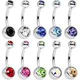 Areke Womens Stainless Steel Belly Button Ring Body Jewelry Piercing Rings BarBell Gift Set 10Pcs