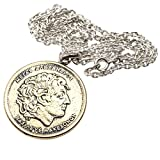 石輝 ギリシャ硬貨 コイン ネックレス 100ドラクマ メンズ ゴールドカラー 袋付き[486aln]