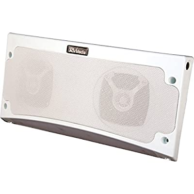 King RVM1000 White RV Media Bluetooth Weatherproof Speaker and Awning Light
