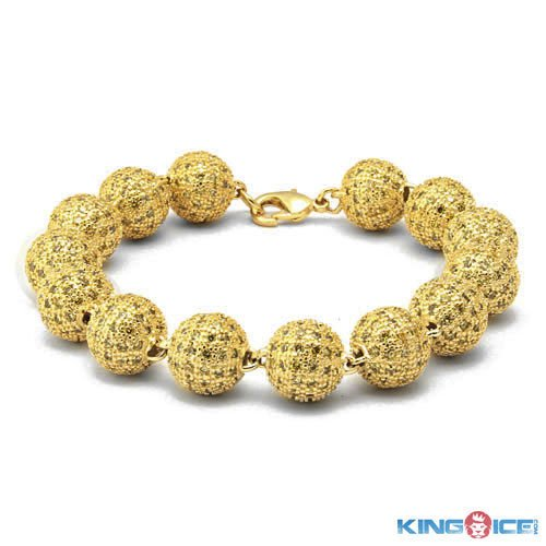 King Ice Men's Golden Hip Hop Premium Disco Ball Bracelet