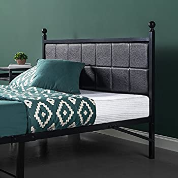 Zinus Metal Platform Bed / Bed Frame with Faux Leather Square Stitched Upholstered Headboard, Twin