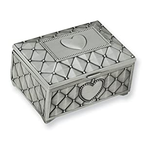 Pewter Finish Hinged Lid Rectangle Metal Jewelry Box