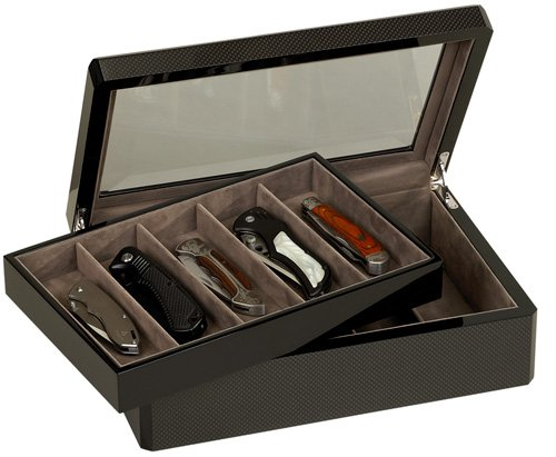 Venlo 10 Knife Display Case Carbon Fiber 15 with Glass Top (kc-10-cf15)