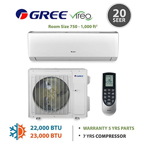 GREE Vireo 24,000 BTU Wall Mounted Ductless Mini Split Heat Pump System 208-230 VAC (Wall Mounted Split Unit compare prices)