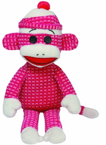 Ty Beanie Babies Sock Monkey Plush, Pink Quilted - 1