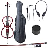 Cecilio 4/4 CECO-1LW Red Mahogany Metallic Electric Cello with Ebony Fittings in Style 1 (Full Size)