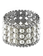 M&S Collection Pearl Effect Diamanté Stretch Bracelet