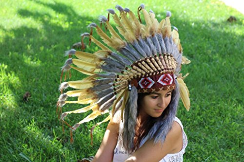 Golden Light Brown Indian Headdress, Native American Warbonnet