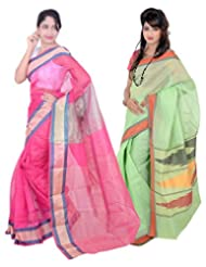 Banarasi Silk Works Superb Pink And Light Green Super Net Cotton Embroidered Combo Saree