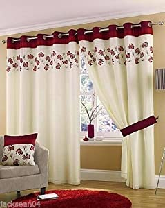 """Stunning Wine Red Cream Lined Ring Top Eyelet Voile Curtains W66"""" X L54"""" - 168 X 137 Cm (each Panel) by PCJ SUPPLIES"""