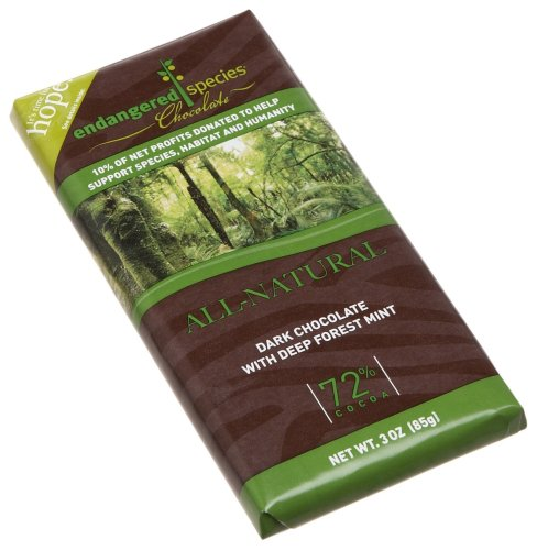 Endangered Species Rainforest, Dark Chocolate (72%) with Deep Forest Mint, 3-Ounce Bars (Pack of 12)