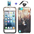 4 items Combo: ITUFFY LCD Screen Protector Film + Mini Stylus Pen + Case Opener + Outdoor Wild Deer Grass Camouflage Design Rubberized Snap on Hard Shell Cover Faceplate Case for Ipod Touch 5 (5th Generation Ipod Touch)