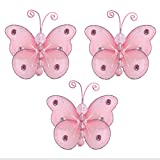 """Butterfly Decor 3"""" Pink Mini X-Small Wire Hanging Nylon Mesh Butterflies 3 Piece Decorations Set Decorate Baby Nursery Bedroom Girls Room Wall Wedding Birthday Party Shower Crafts Scrapbooks Invitation DIY"""